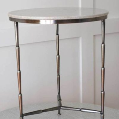 Iron and White Marble Side Table 5